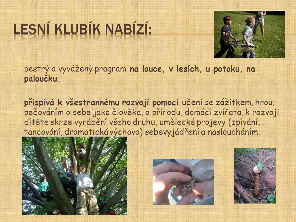 Lesní klubík nabízí: pestrý a vyvážený program na louce, v lesích, u potoku, na paloučku.