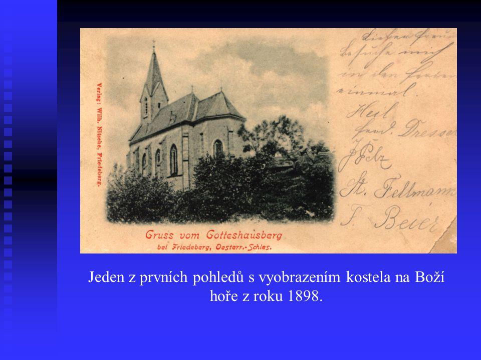 Jeden z prvních pohledů s vyobrazením kostela na Boží hoře z roku 1898.
