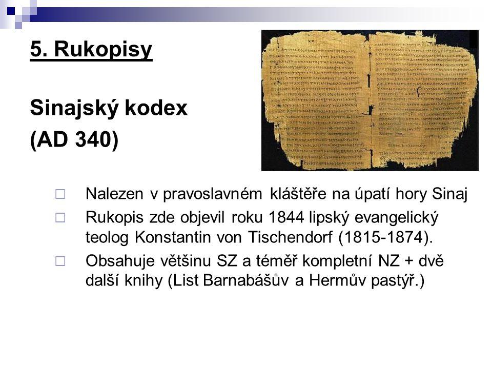 5. Rukopisy Sinajský kodex (AD 340)