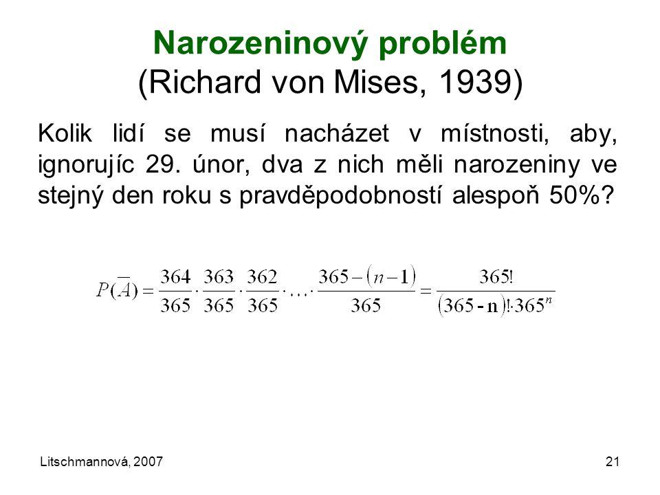 Narozeninový problém (Richard von Mises, 1939)