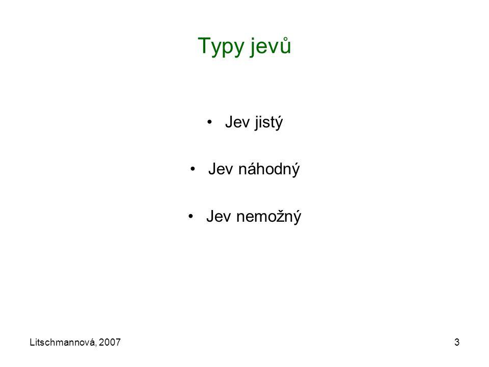 Typy jevů Jev jistý Jev náhodný Jev nemožný Litschmannová, 2007