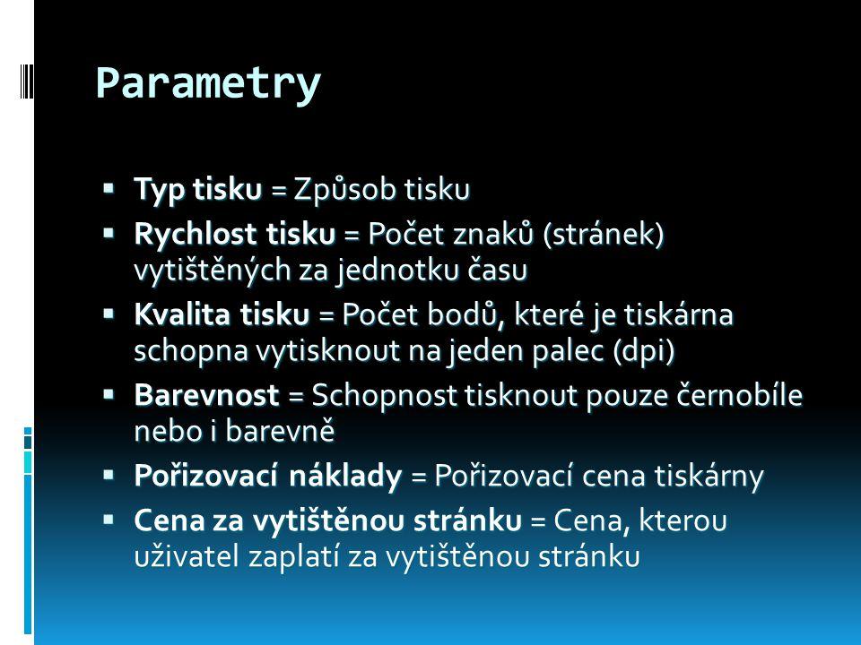 Parametry Typ tisku = Způsob tisku