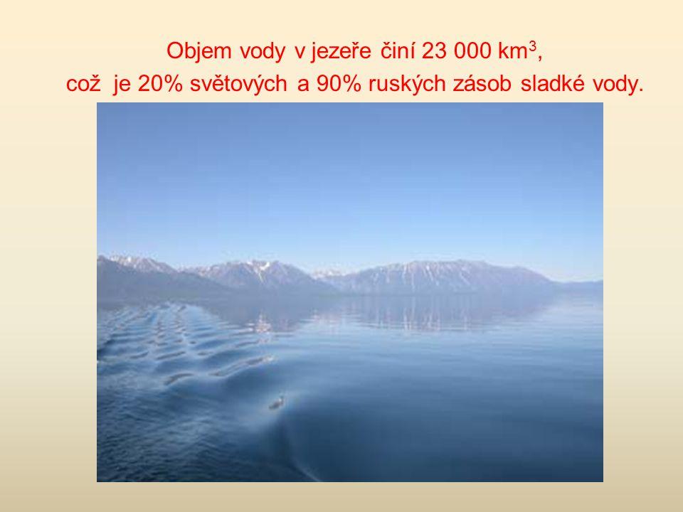 Objem vody v jezeře činí 23 000 km3,