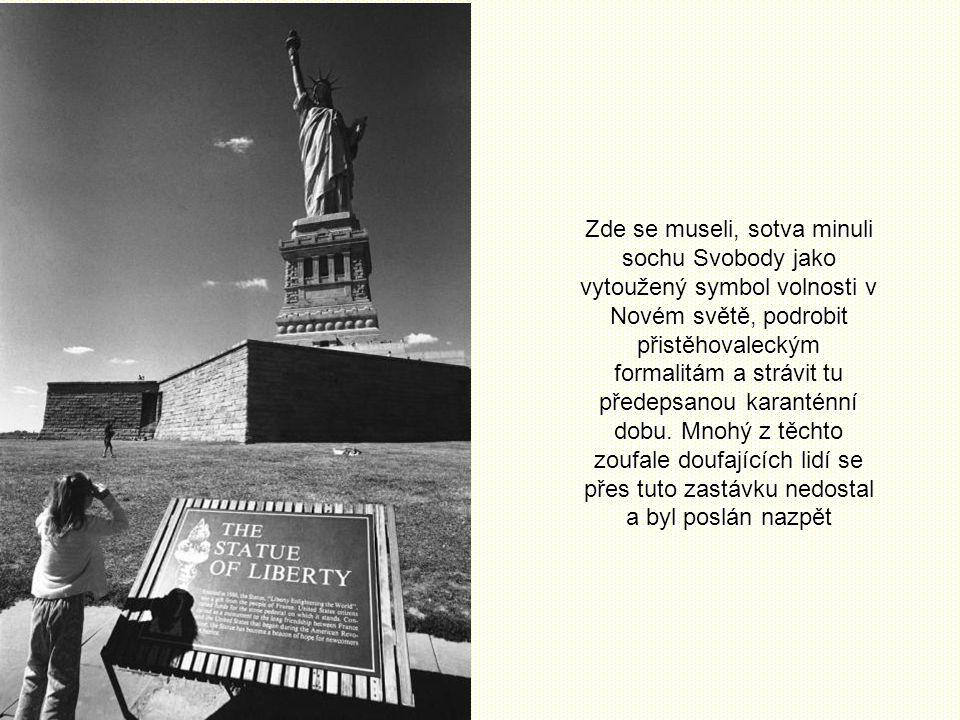 Zde se museli, sotva minuli sochu Svobody jako vytoužený symbol volnosti v Novém světě, podrobit přistěhovaleckým formalitám a strávit tu předepsanou karanténní dobu.