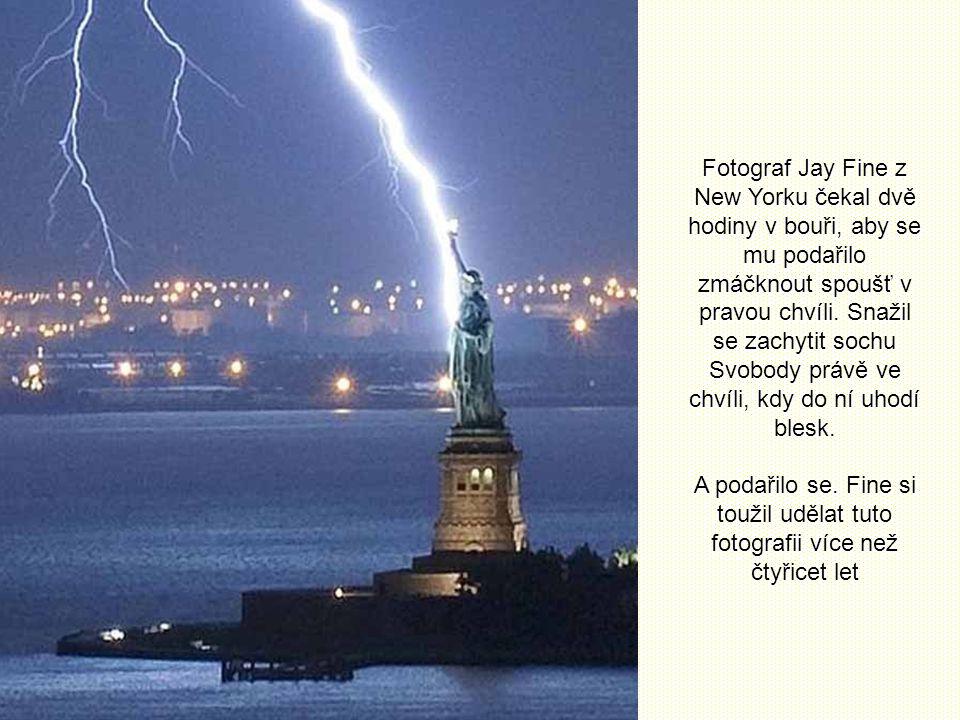 Fotograf Jay Fine z New Yorku čekal dvě hodiny v bouři, aby se mu podařilo zmáčknout spoušť v pravou chvíli. Snažil se zachytit sochu Svobody právě ve chvíli, kdy do ní uhodí blesk.