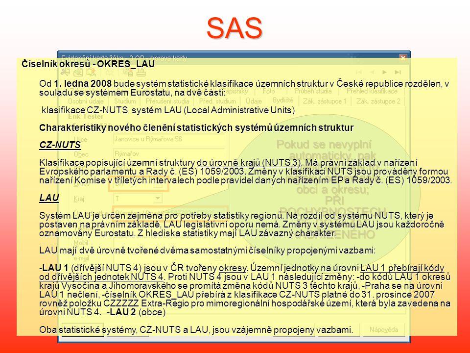 SAS Číselník okresů - OKRES_LAU.
