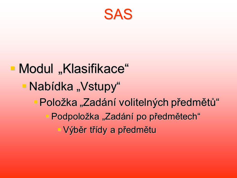 """SAS Modul """"Klasifikace Nabídka """"Vstupy"""