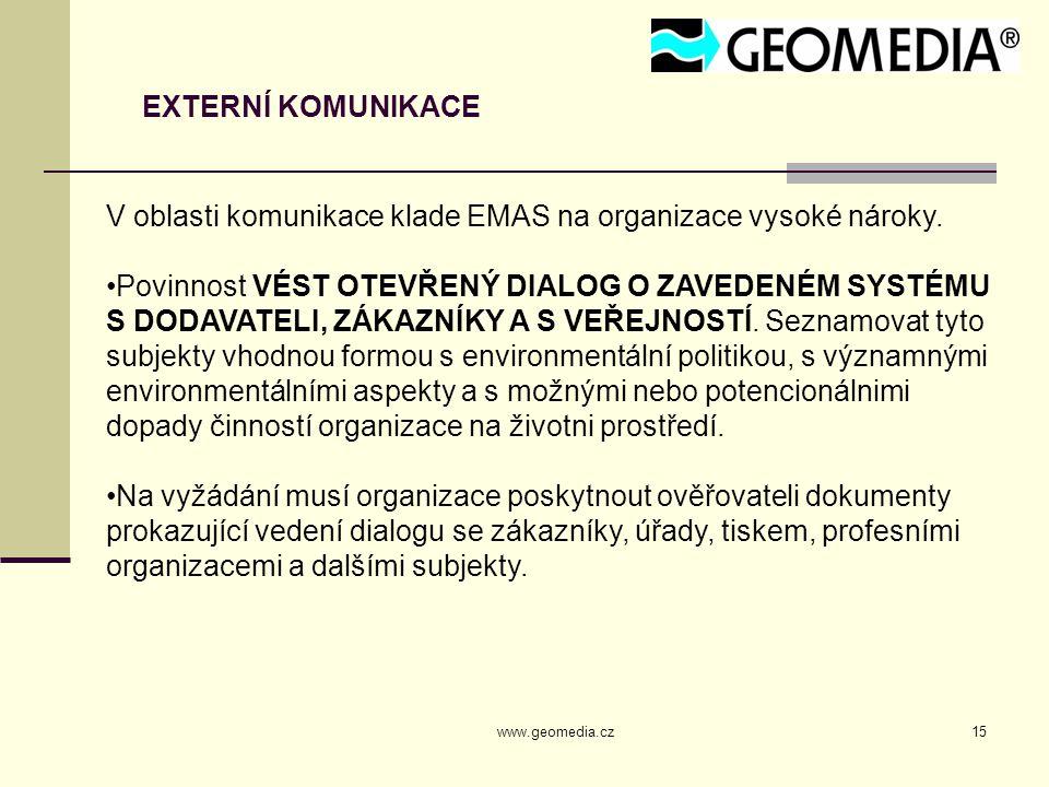 V oblasti komunikace klade EMAS na organizace vysoké nároky.