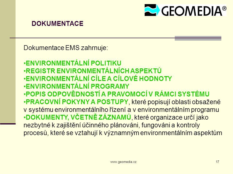 Dokumentace EMS zahrnuje: ENVIRONMENTÁLNÍ POLITIKU