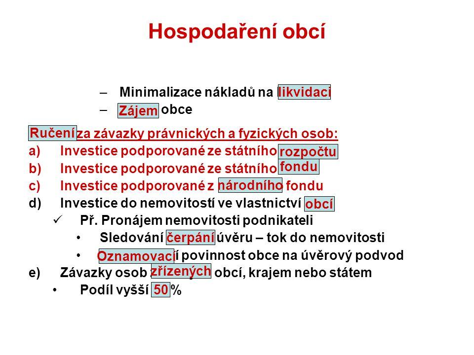 Hospodaření obcí Minimalizace nákladů na likvidaci Zájem obce