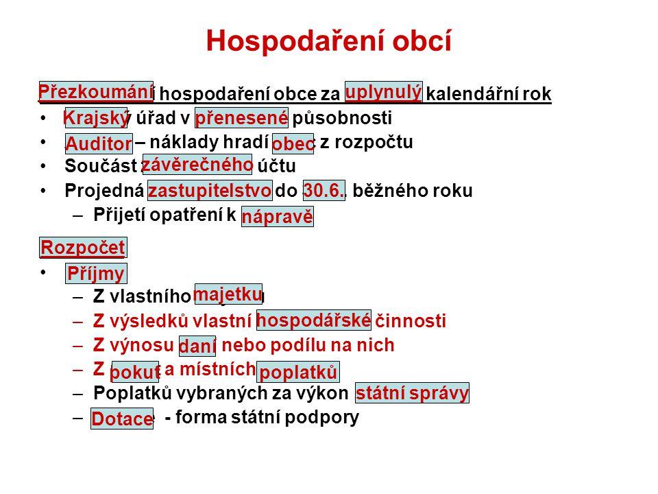 Hospodaření obcí Přezkoumání hospodaření obce za uplynulý kalendářní rok. Krajský úřad v přenesené působnosti.