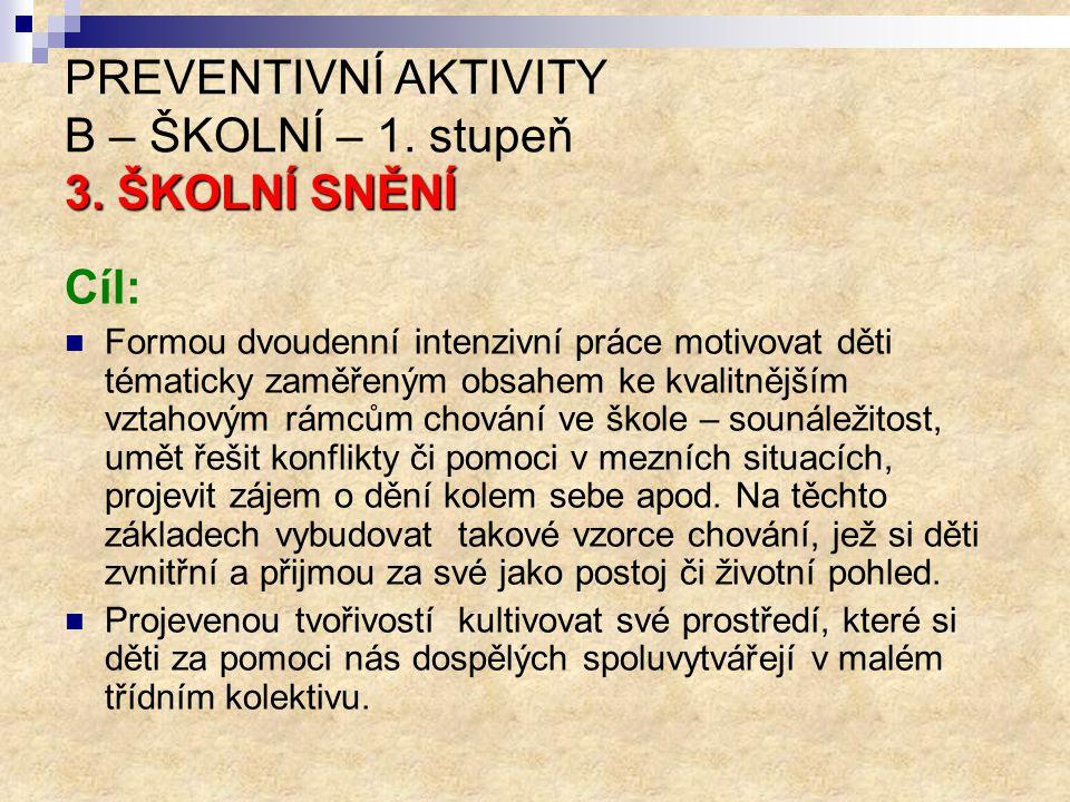 PREVENTIVNÍ AKTIVITY B – ŠKOLNÍ – 1. stupeň 3. ŠKOLNÍ SNĚNÍ