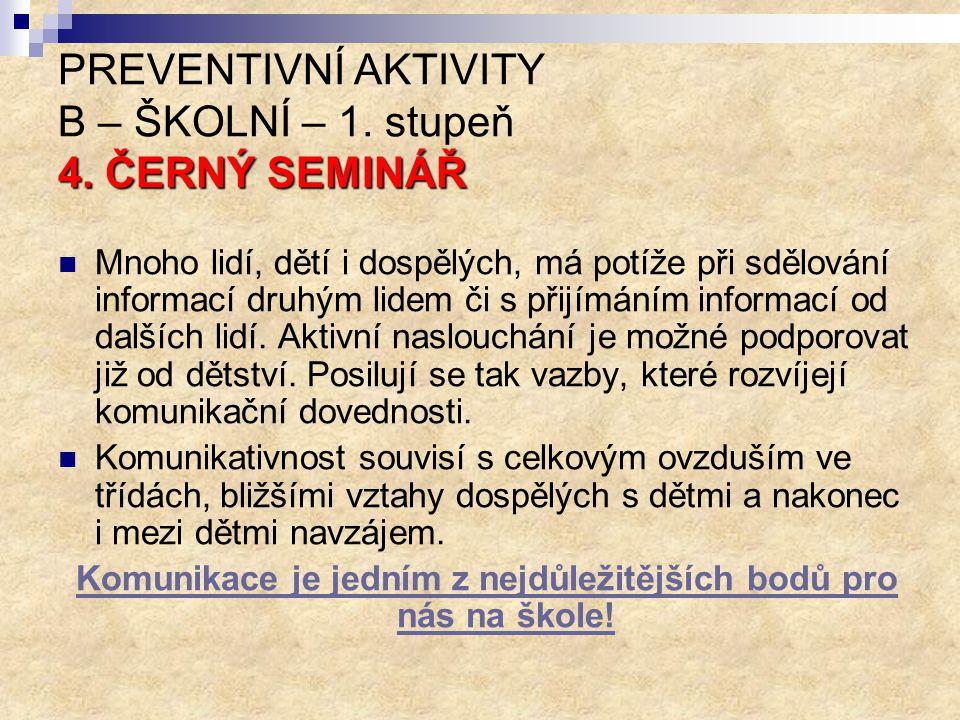 PREVENTIVNÍ AKTIVITY B – ŠKOLNÍ – 1. stupeň 4. ČERNÝ SEMINÁŘ