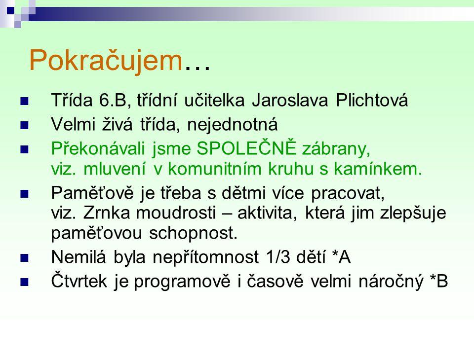 Pokračujem… Třída 6.B, třídní učitelka Jaroslava Plichtová