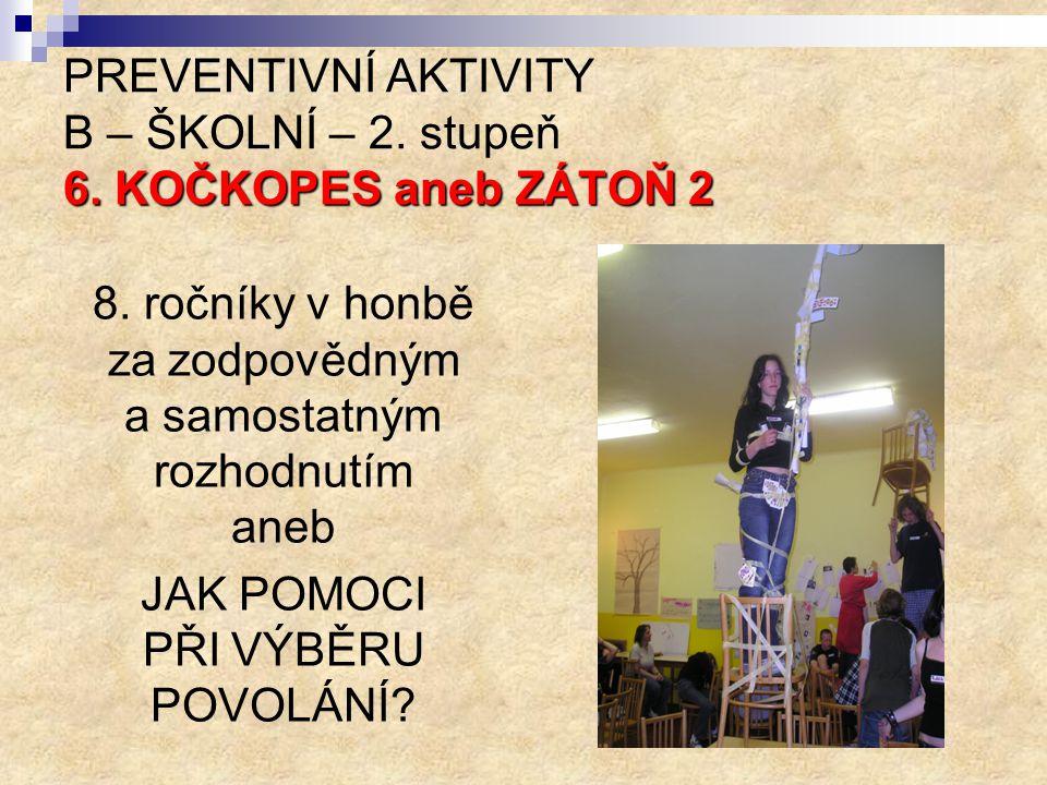 PREVENTIVNÍ AKTIVITY B – ŠKOLNÍ – 2. stupeň 6. KOČKOPES aneb ZÁTOŇ 2