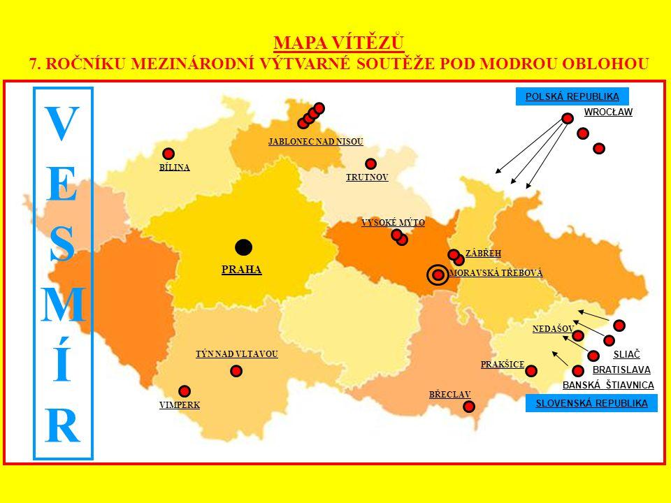 MAPA VÍTĚZŮ 7. ROČNÍKU MEZINÁRODNÍ VÝTVARNÉ SOUTĚŽE POD MODROU OBLOHOU