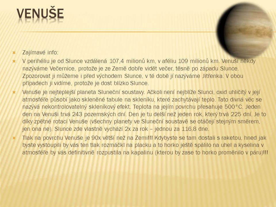 Venuše Zajímavé info: