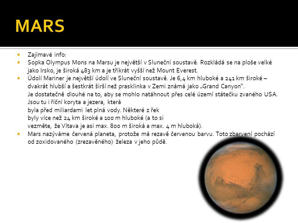 MARS Zajímavé info: