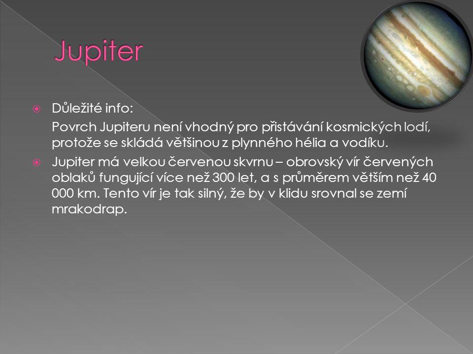 Jupiter Důležité info: