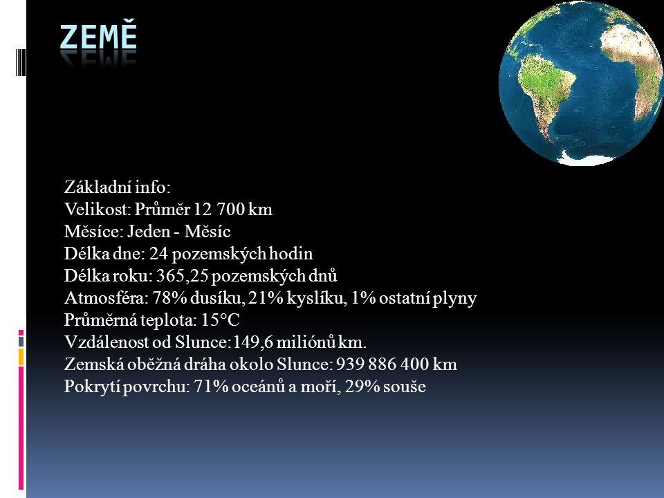 Země Základní info: Velikost: Průměr 12 700 km Měsíce: Jeden - Měsíc