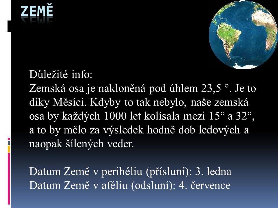 Země Důležité info: