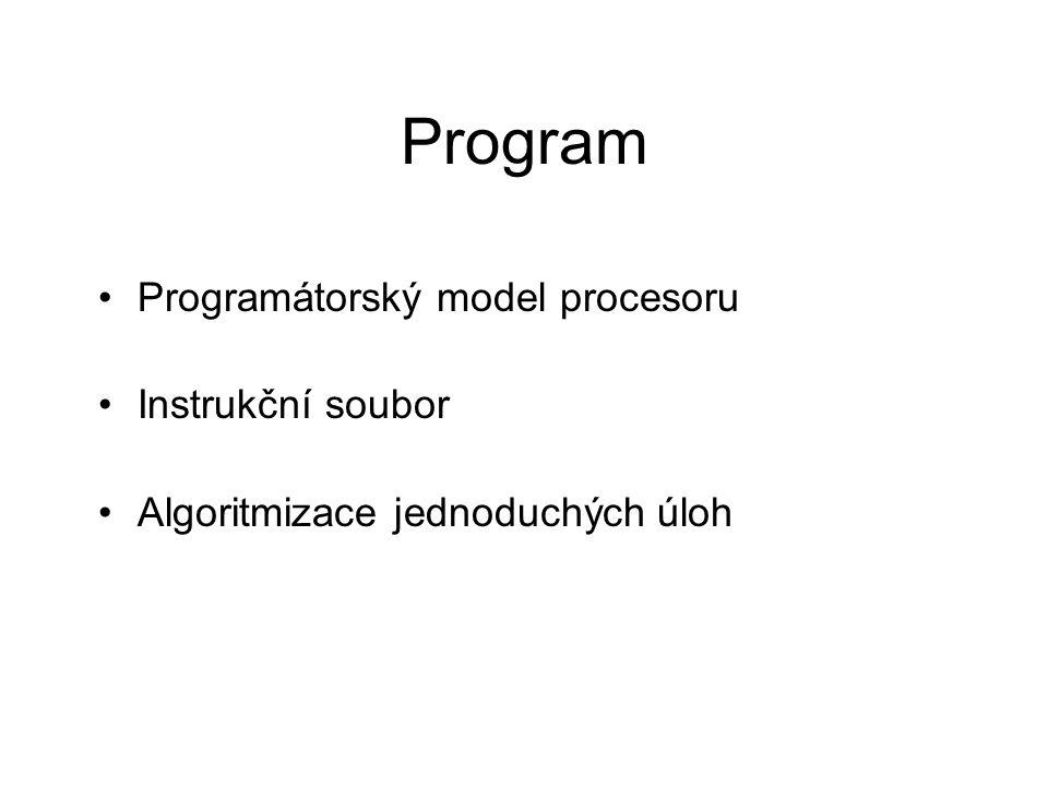 Program Programátorský model procesoru Instrukční soubor
