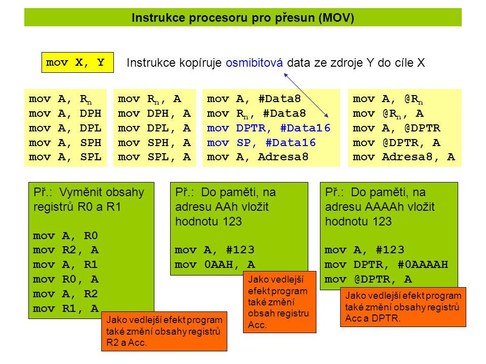 Instrukce procesoru pro přesun (MOV)