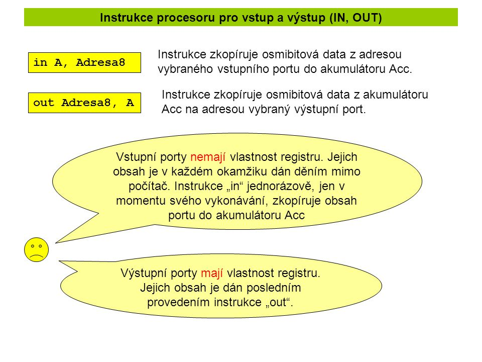 Instrukce procesoru pro vstup a výstup (IN, OUT)