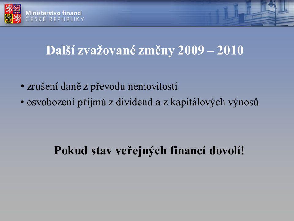 Další zvažované změny 2009 – 2010