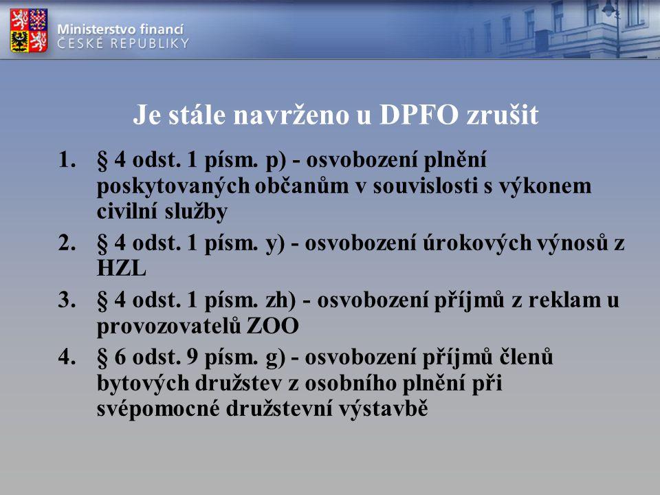 Je stále navrženo u DPFO zrušit