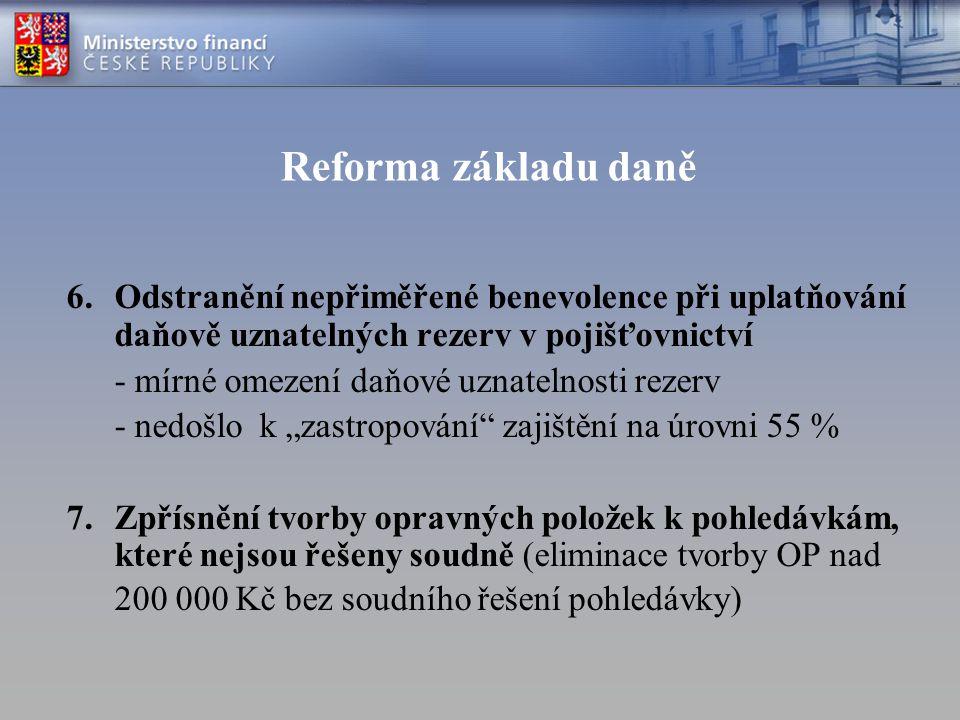 Reforma základu daně Odstranění nepřiměřené benevolence při uplatňování daňově uznatelných rezerv v pojišťovnictví.
