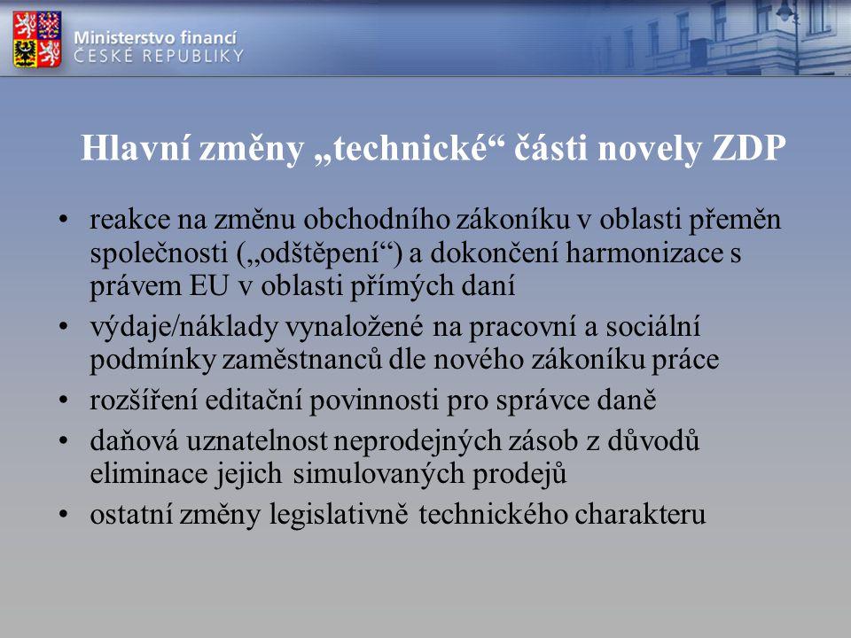 """Hlavní změny """"technické části novely ZDP"""