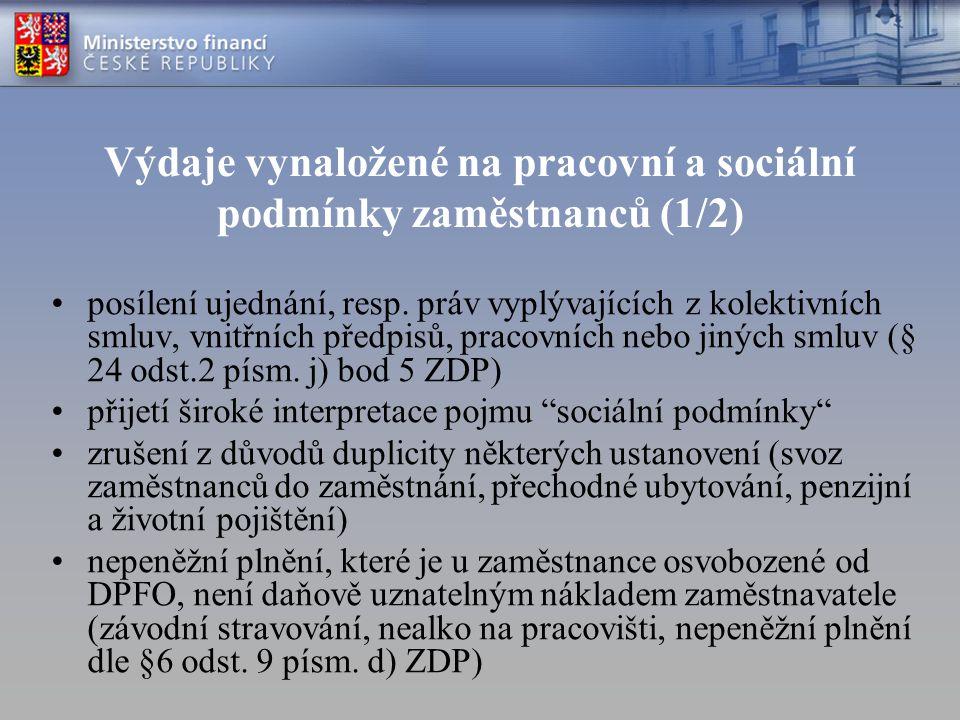 Výdaje vynaložené na pracovní a sociální podmínky zaměstnanců (1/2)