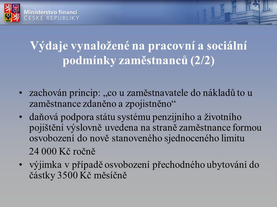 Výdaje vynaložené na pracovní a sociální podmínky zaměstnanců (2/2)