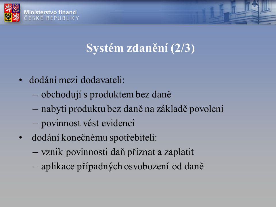 Systém zdanění (2/3) dodání mezi dodavateli:
