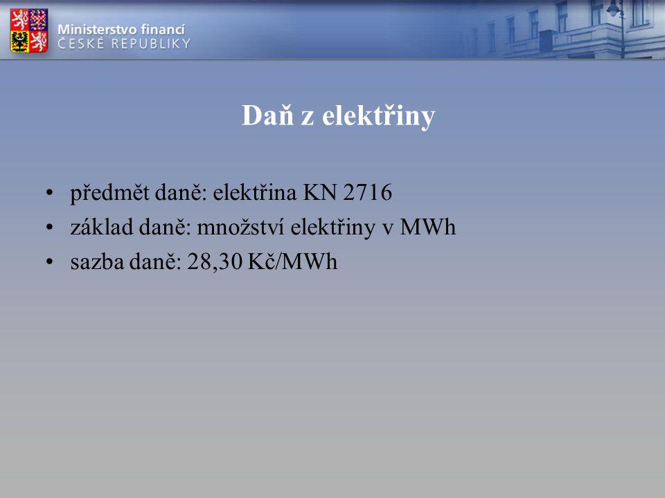 Daň z elektřiny předmět daně: elektřina KN 2716