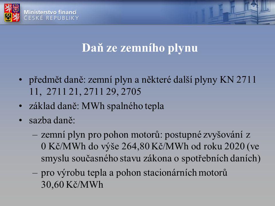 Daň ze zemního plynu předmět daně: zemní plyn a některé další plyny KN 2711 11, 2711 21, 2711 29, 2705.