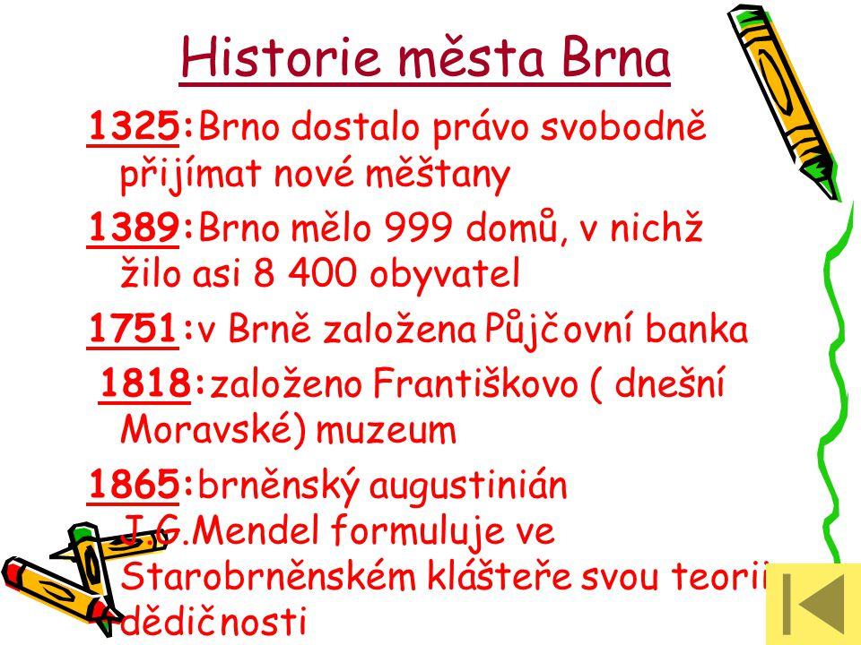 Historie města Brna 1325:Brno dostalo právo svobodně přijímat nové měštany. 1389:Brno mělo 999 domů, v nichž žilo asi 8 400 obyvatel.