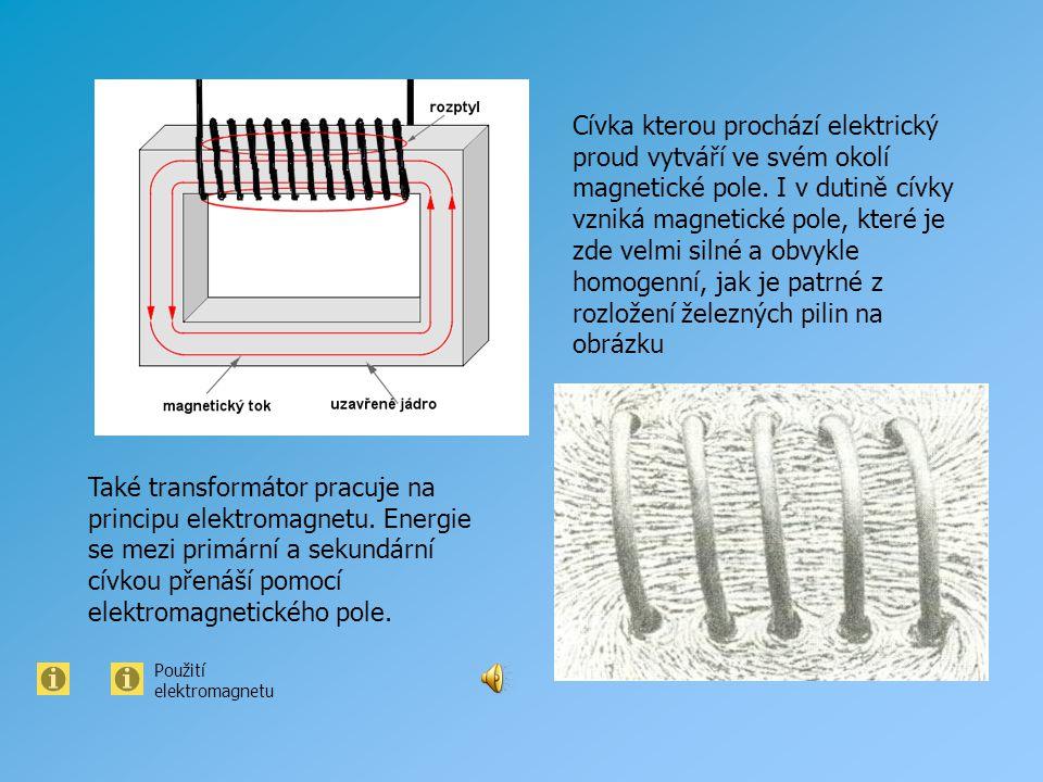 Cívka kterou prochází elektrický proud vytváří ve svém okolí magnetické pole. I v dutině cívky vzniká magnetické pole, které je zde velmi silné a obvykle homogenní, jak je patrné z rozložení železných pilin na obrázku