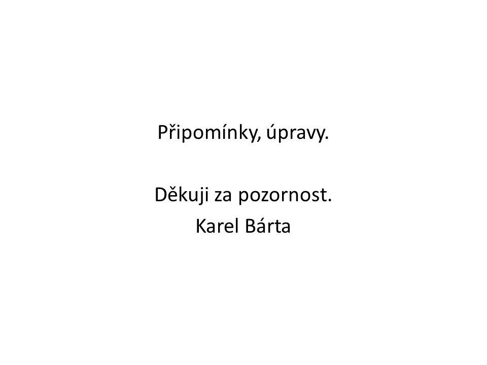 Připomínky, úpravy. Děkuji za pozornost. Karel Bárta