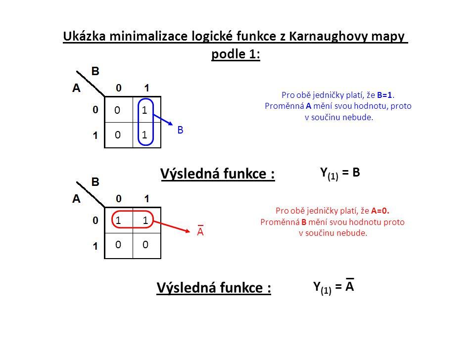 Ukázka minimalizace logické funkce z Karnaughovy mapy