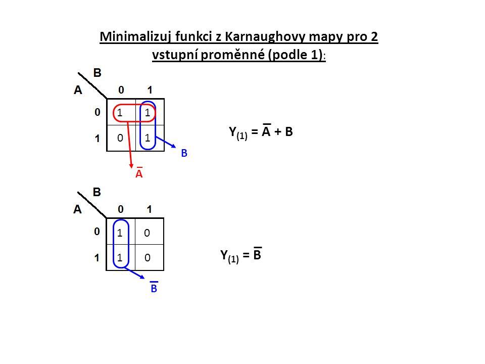 Minimalizuj funkci z Karnaughovy mapy pro 2 vstupní proměnné (podle 1):