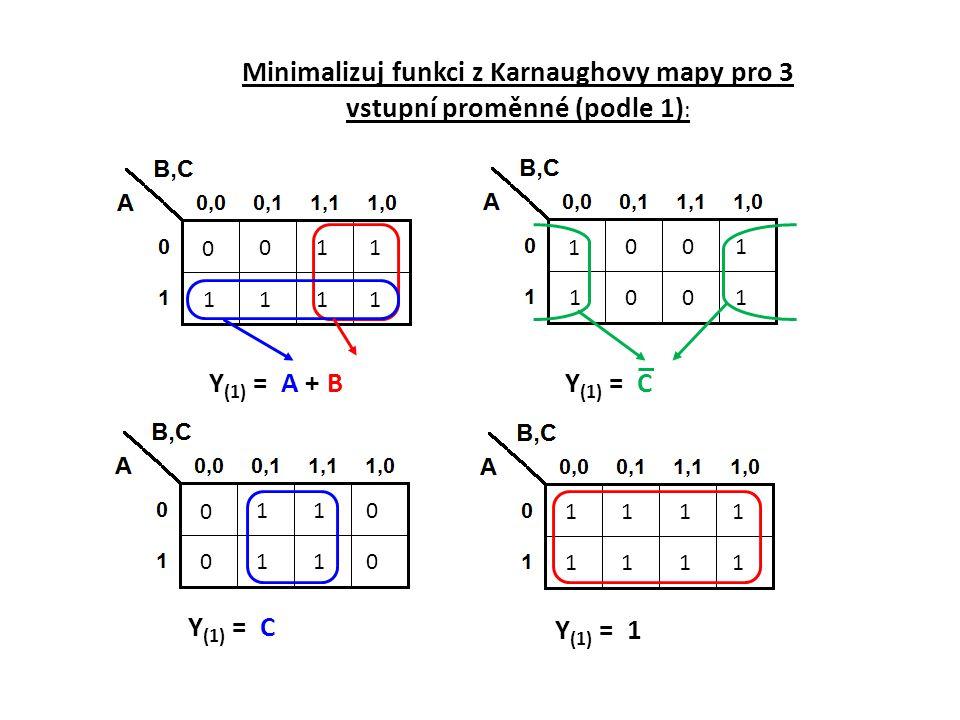 Minimalizuj funkci z Karnaughovy mapy pro 3 vstupní proměnné (podle 1):
