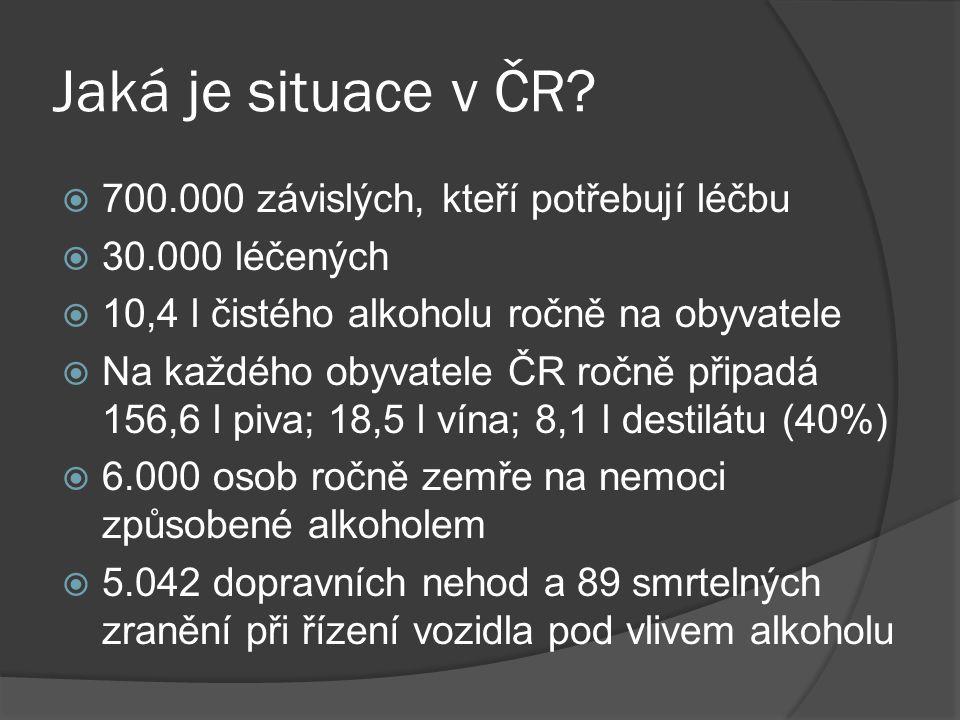 Jaká je situace v ČR 700.000 závislých, kteří potřebují léčbu