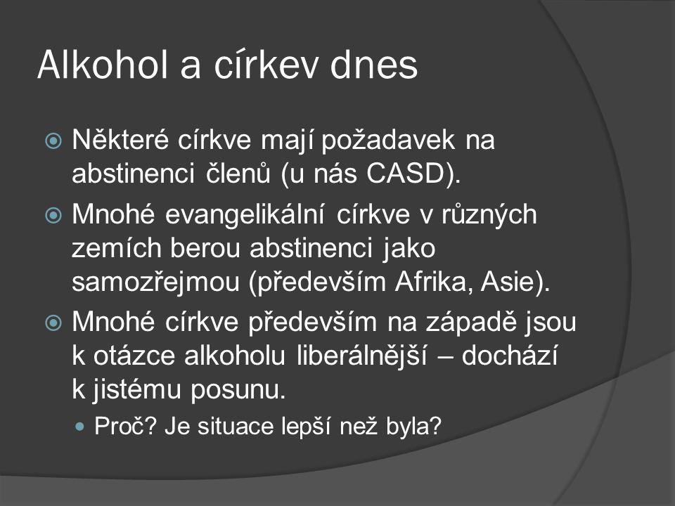 Alkohol a církev dnes Některé církve mají požadavek na abstinenci členů (u nás CASD).