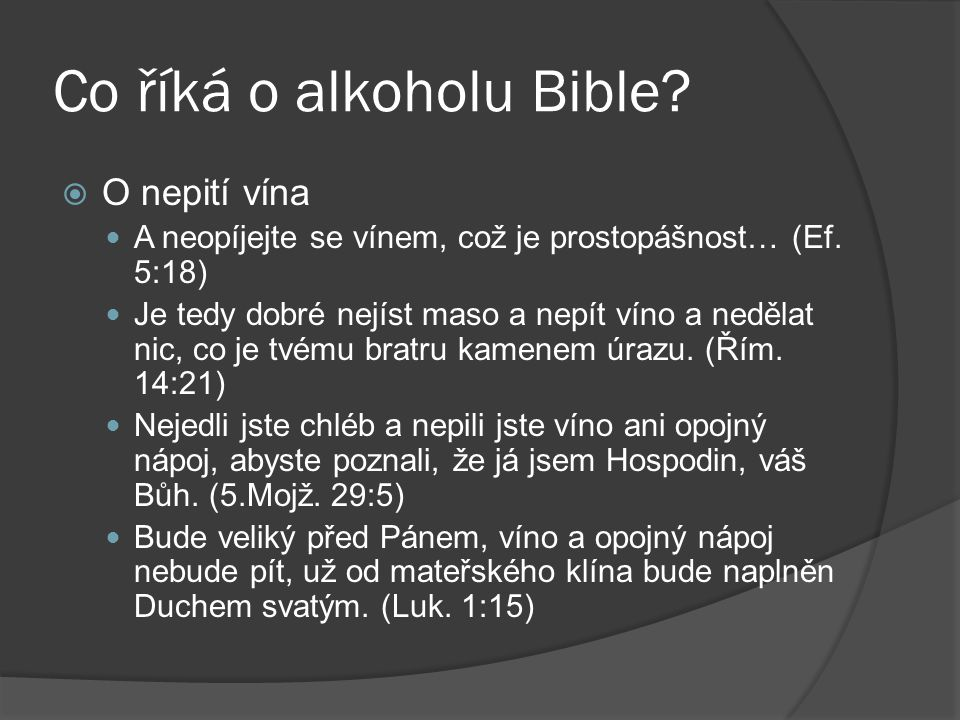 Co říká o alkoholu Bible
