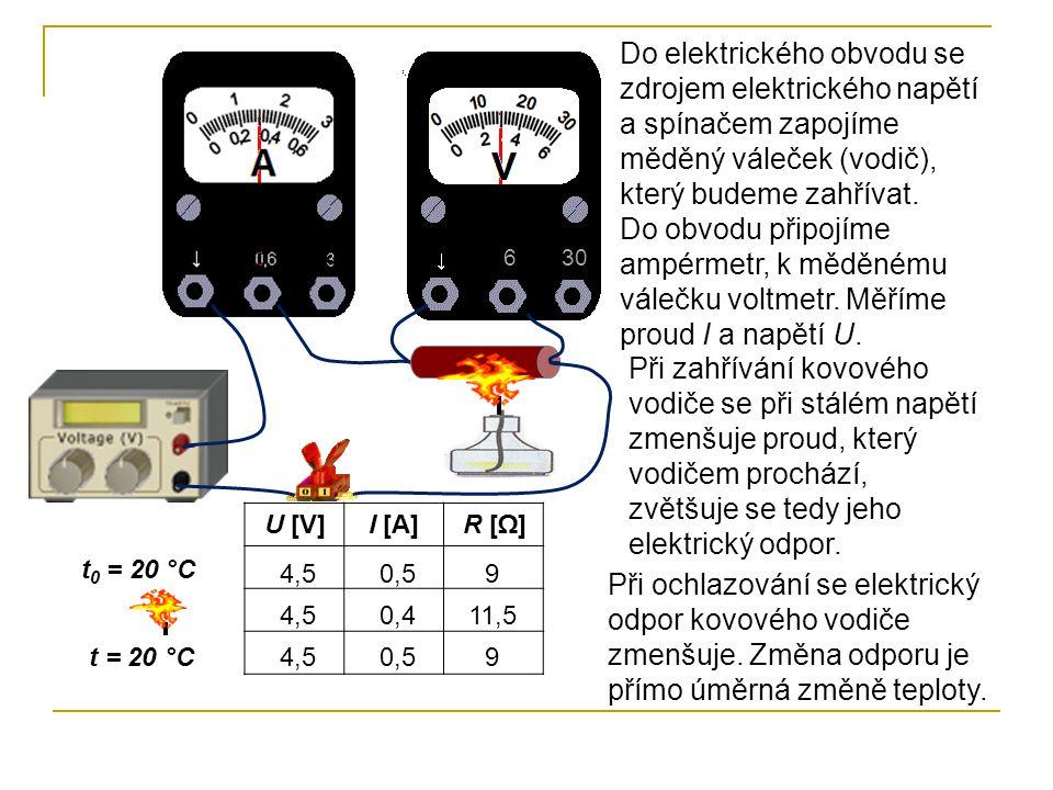 Do elektrického obvodu se zdrojem elektrického napětí a spínačem zapojíme měděný váleček (vodič), který budeme zahřívat. Do obvodu připojíme ampérmetr, k měděnému válečku voltmetr. Měříme proud I a napětí U.