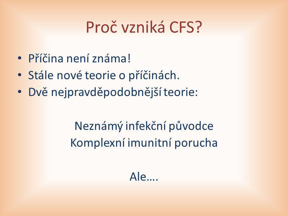 Proč vzniká CFS Příčina není známa! Stále nové teorie o příčinách.