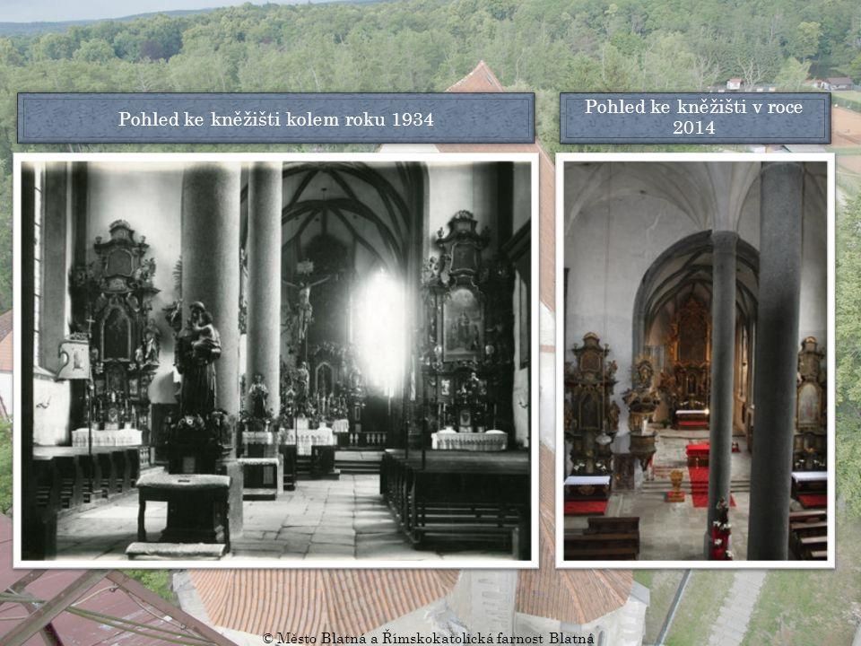 Pohled ke kněžišti kolem roku 1934 Pohled ke kněžišti v roce 2014