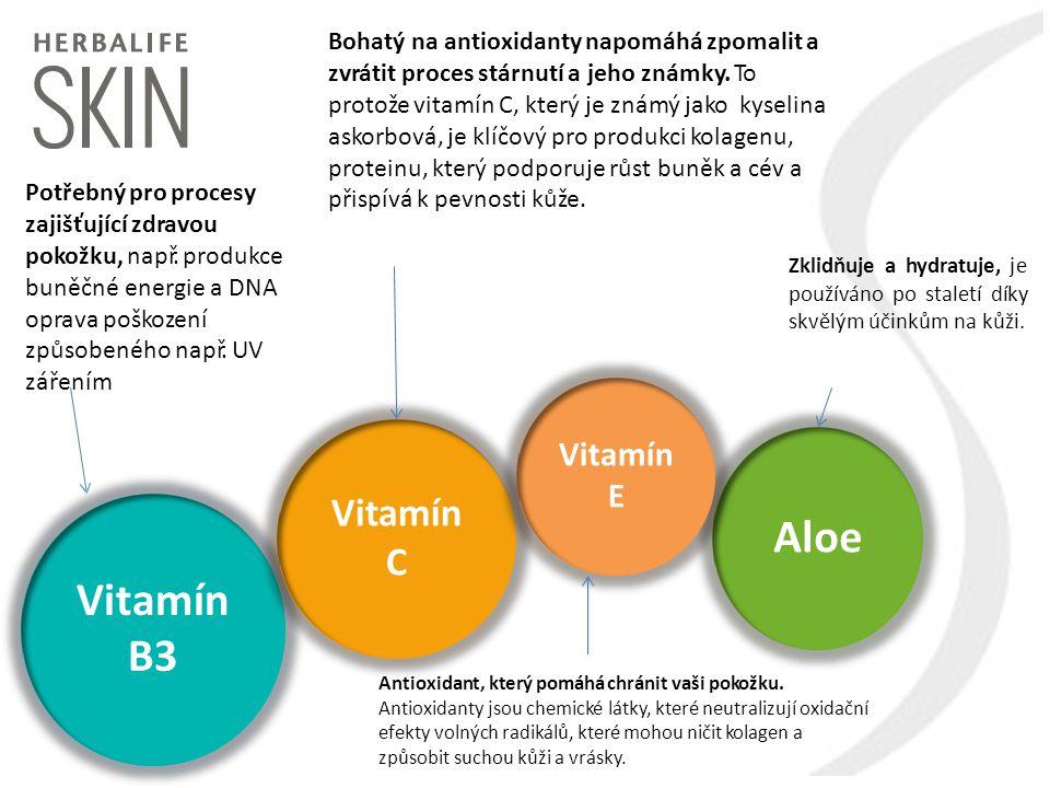 Aloe Vitamín B3 Vitamín C Vitamín E